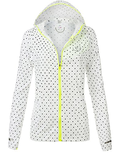 Water Resistant Lightweight Cute Dotted Rain Jackets,095-White_Neon Citron,US XL (Citron Panel compare prices)