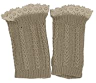 Modern Minute – Lace Top Thin Cable Knit Legwarmer Boot Topper