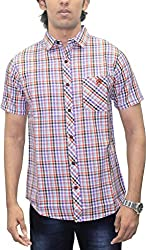 AA' Southbay Men's Purple & Orange Twill Checks 100% Premium Cotton Half Sleeve Casual Shirt