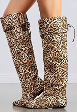 s camel leopard thigh high lace up