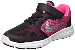 Girl\'s Nike Revolution 3 Pre-School Shoe Black/Hyper Pink/White/Metallic Silver Size 2 M US