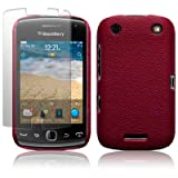 BLACKBERRY CURVE 9380 RED TEXTURED PU LEATHER BACK COVER CASE / SHELL / SHIELD + SCREEN PROTECTOR PART OF THE QUBITS ACCESSORIES RANGEby Qubits