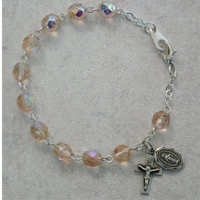 Youth October Birthstone Rosary Bracelet