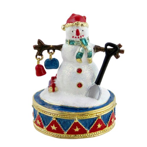 Snowman with Shovel and Charms Trinket Box Bejeweled
