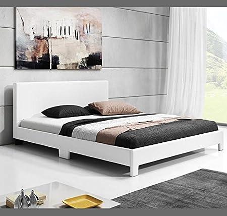 Muebles Bonitos - Cama de matrimonio Luna en color blanco (150x190cm)