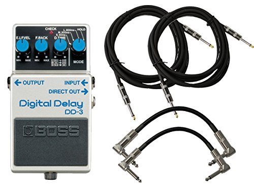 BOSS DD-3 Digital Delay Pedal Bundle w/4 Cables (Boss Digital Reverb compare prices)