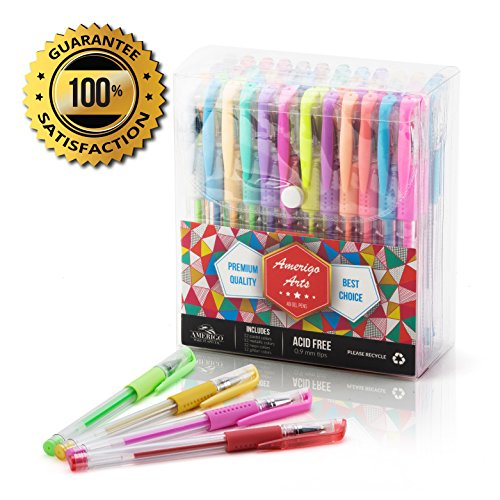 Amazing-Gel-Pens-for-Adult-Coloring-Books-by-Amerigo-Set-of-48-Assorted-Colors-Includes-Glitter-Metallic-Pastel-Neon-Gel-Pens-Black-included-Express-Yourself-GRIP-for-Your-COMFORT