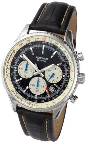 Sekonda Men's Quartz Watch with Black Dial Chronograph Display and Black Leather Strap 3408.27