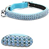 """Leather crystal diamante safety breakaway Puppy Cat Collars Blue 8-10.5"""""""