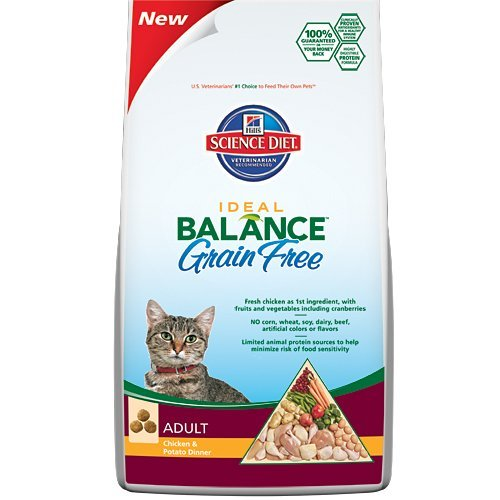 Image of Hill's Science Diet Ideal Balance Feline Adult Grain Free Chicken and Potato Dinner Dry Cat Food Bag, 10.5-Pound