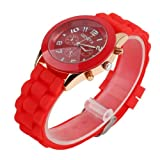 YKS Black Unisex Geneva Silicone Jelly Gel Quartz Analog Sports Wrist Watch (red)