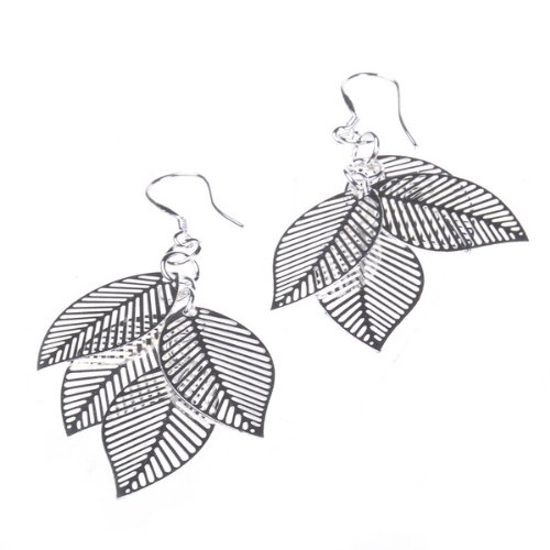 BestDealUSA Silver Color 4 Pieced Leaf Fashion Dangle Earrings for Girls Ladies