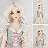 1/6 BJD with 6-7 Inch High Temperature Synthetic Fiber Long White Ombre Kinky Curly Hair Wig BJD Doll Wigs for 1/3 1/4 1/6 BJD SD Doll(1001#) (Color: 1001#)