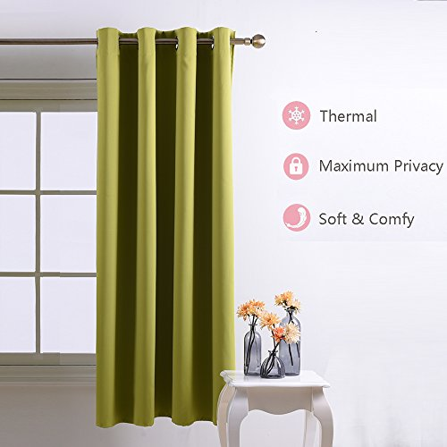 Nicetown Room Darkening Blackout Curtains Window Panel Drapes - (Green Color) 1 Panel, 52 by 63 Inch each panel, 8 Grommets / Rings per panel (Panel Curtain Green compare prices)