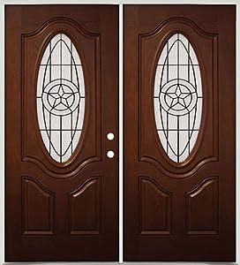 3 4 Oval Mahogany Fiberglass Entry Double Door 60 Star Left Hand