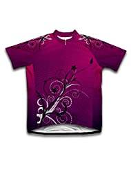 Purple Blossom Short Sleeve Cycling Jersey for Women
