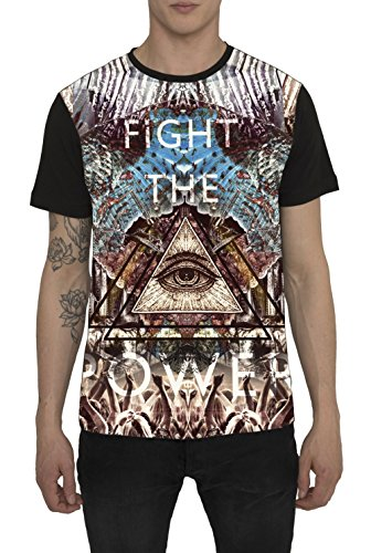 Maglietta da Uomo, T Shirt Designer Fashion Rock, Maglia Nera con Stampa Grafica, 3D Design - FIGHT THE POWER - 100% Cotone, Girocollo, Maniche Corte, Magliette Moda Urban Cool per Uomo S M L XL XXL