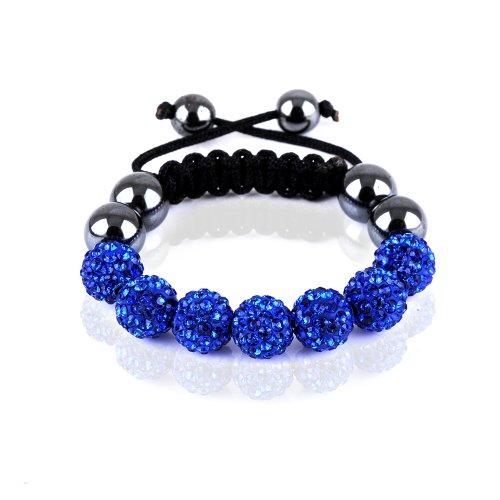 Rivertree London Children's crystal disco ball shamballa bracelet b710 blue