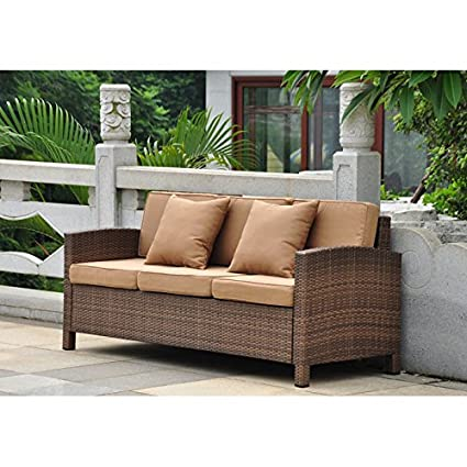 International Caravan Barcelona Resin Wicker Patio Sofa with Cushions