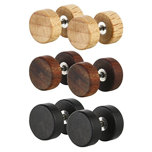 Charisma 10mm Wood Cheater Fake Ear Plugs Gauges Illusion Tunnel Screw Stud Earrings 3 Pairs Set Assorted Color (Cool Ear Gauges compare prices)