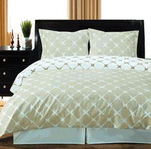 Twin Extra Long Reversible Duvet Cover Set 400 Thread Count 100% Egyptian Cotton - Ivory/Linen front-286110