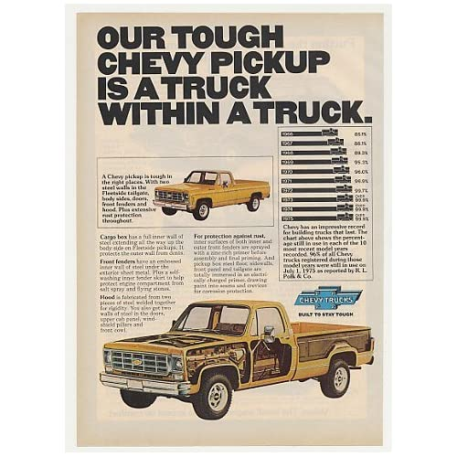 1977 Chevy Fleetside Pickup Truck Within a Truck Print Ad