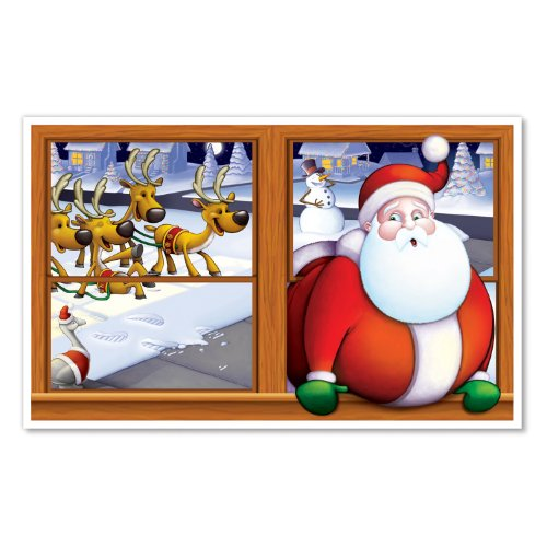 Beistle 1-Pack Santa Insta View Sheet for Party Decorations, 3-Feet 2-Inch by 5-Feet 2-Inch - 1