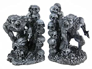 Snarling werewolf bookends gothic book ends wolf man home kitchen - Gothic bookends ...