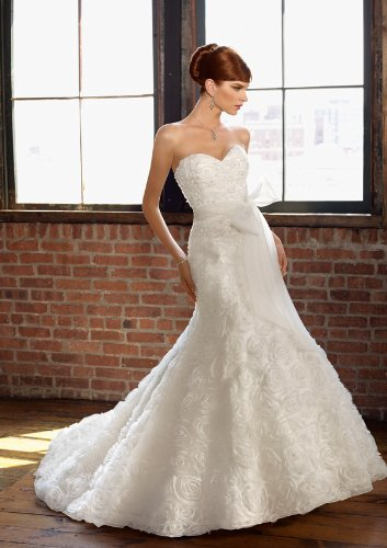 White Strapless Wedding Dress  Lazer Cut Organza