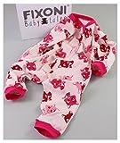 Fixoni 31704 Schlafanzug Iza, hochwertiger langärmliger Schlafanzug mit nickelfreiem Reißverschluss, ohne Füße, aus 100% Baumwolle, kuschelweich und hautfreundlich, für kleine Mädchen, Rosa/Pink mit Katzen Aufdruck, Gr. 86