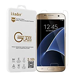 Galaxy S7 Screen Protector - iAnder Samsung Galaxy S7 Tempered Glass Screen Protector - 0.3mm thickness / 2.5D Rounded Edge / Industry 12H Hardness with Oleophobic Coating