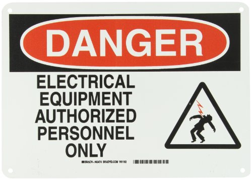 """Brady 43474 0"""" Height, 14"""" Width, B-555 Aluminum, 1 Black And Red On White Color Electrical Hazard Sign, Legend """"Danger, Electrical Equipment Authorized Personnel Only (With Picto)"""""""