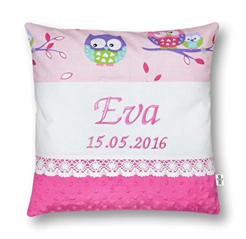 Amilian Kissen 40 x 40 cm mit Namen Datum Eule rosa/ ROSA