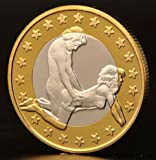 2015 Year New Style Collection Coins Crafts Sex 6 Euro Silver and Gold Plated Coin Sex Coins Total 34 Designs Style Random Shipping 1pc + a Nice Note Gift Paper Money