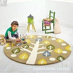 FADFAY Home Textile,Unique Tree Pattern Carpet,Designer Cartoon Kids Rugs,Brand Acrylic Roud Kids Bedroom Mats