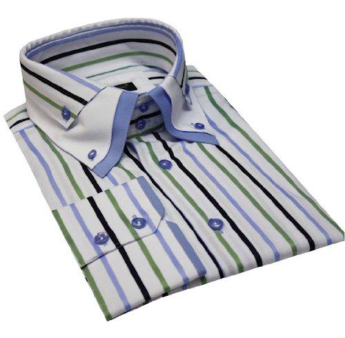 Italian Design Triple Collar Button Down Men Formal Casual Shirts Blue Stripe
