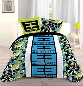 housse de couette 220x240 cm 2 to 63x63 cm freegun 2 triad bleu cuisine maison. Black Bedroom Furniture Sets. Home Design Ideas