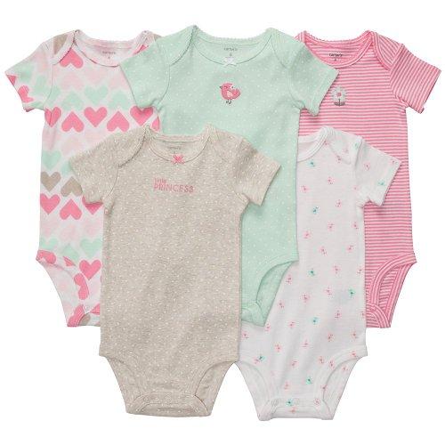 """Carter'S Baby Girls 5 Pk """"Little Princess"""" Short Sleeve Bodysuits (12 Months) front-983496"""