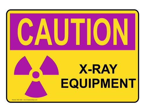 Compliancesigns Vinyl Osha Radiation Caution Label, 5 X 3.5 In. With Mri / X-Ray / Microwave Info In English, 4-Pack Yellow