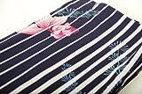 プレタ浴衣(紺色に縞・金魚と水草柄・撫松庵・夏の着物・東レの洗える生地・お洒落)