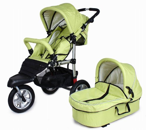 Bambini Tre Verde Green 3 wheel baby stroller / pushchair / pram