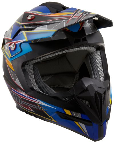 Stealth Flyte Speed Graphic Off-Road Helmet (Blue, Medium)