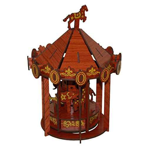 Carousel 3D Puzzle - Rosewood Color - Rosewood Puzzles Inc. - Fun Mind-Challenging 3D Puzzle!