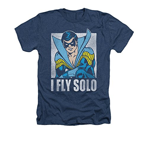 Nightwing DC Comics Superhero Retro Disco Costume I Fly Solo Adult Heather Tee