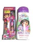 Dora The Explorer Colgate Powered Toothbrush With 24 oz Cherry Berry Bubble Bath