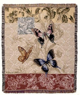 Butterfly Floral Woven Tapestry Blanket Throw Mid-Size Made In The Usa front-876014