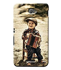 Blue Throat Boy Playing Violin Hard Plastic Printed Back Cover/Case For Sony Xperia E4