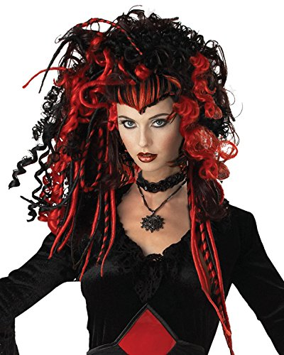 [Red and Black Synthetic Wig for Women with Tight Ringlet Curls and Braids] (Medusa Costumes Wig)