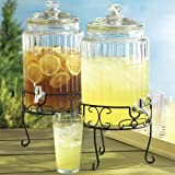 Home Essentials Del Sol Clear Ribbed 1.5 Gallon Glass Beverage Dispenser With Stand