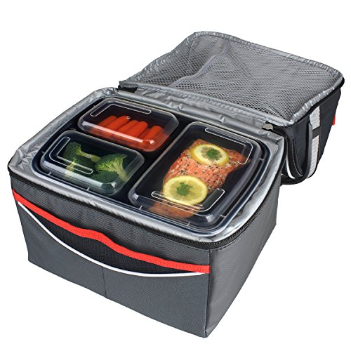 freshware 15 piece 3 compartments bento lunch box with lids set 32 oz easy home organizer. Black Bedroom Furniture Sets. Home Design Ideas